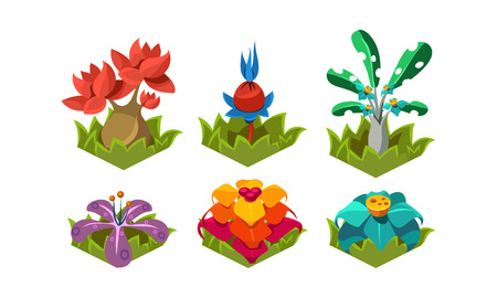 Collection of fantasy plants. Tropical trees and flowers. Nature landscape elements for computer or mobile game. Cartoon style icons. Colorful flat vector illustrations isolated on white background. Vektorové ilustrace