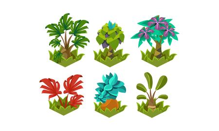 Flat vector set of cartoon fabulous plants. Nature landscape elements. Tropical trees. Design for fantasy mobile or computer game Vektorové ilustrace