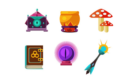 Set of icons related to magic and fairy tale theme. Crystal ball, mushrooms, small casket, cauldron, book of spells and wand. Elements for mobile game. Cartoon style illustrations. Flat vector design. Standard-Bild - 109950496