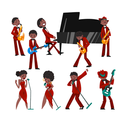 African American jazz band, black men and women singing, different musical instruments vector Illustration isolated on a white background. Illustration