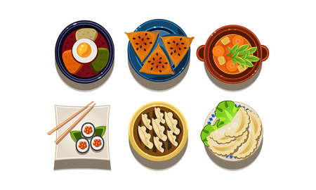 Set of cartoon food icons, top view. Chinese and Korean cuisine. Traditional Asian food. Tasty meal. Graphic elements for cafe menu or promo flyer. Colorful flat vector isolated on white background. Illustration