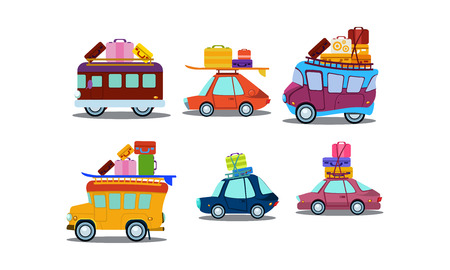 Flat vector set of colorful cars, buses and van  with luggage on roof. Theme of summer vacation or moving to new place