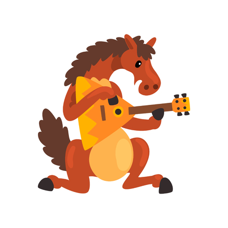 Brown horse playing the balalaika, cute musician animal cartoon character with musical instrument vector Illustration isolated on a white background. Illustration