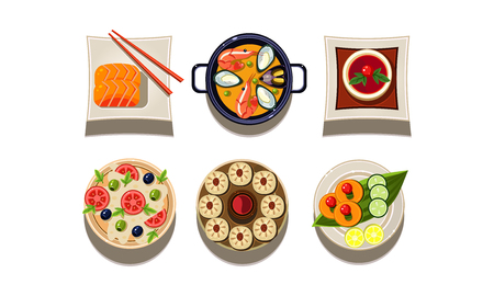 Set of plates with tasty dishes, top view. Chinese cuisine. Delicious Asian food. Graphic elements for cafe or restaurant menu. Cartoon style icons. Flat vector design isolated on white background.