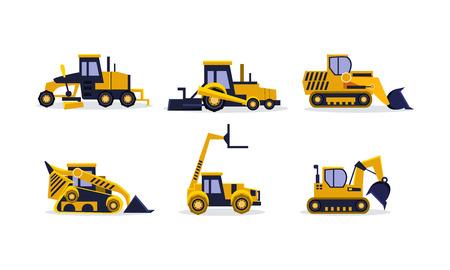 Collection de véhicules de construction colorés. Pelle jaune, chargeuse sur pneus, bulldozer, niveleuse. Équipement lourd pour la construction. Illustrations vectorielles de dessin animé dans un style plat isolé sur fond blanc. Vecteurs