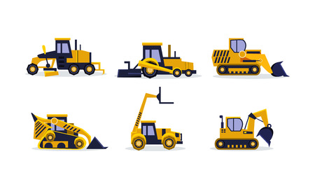 Collection of colorful construction vehicles. Yellow excavator, wheel loader, bulldozer, grader. Heavy equipment for building. Cartoon vector illustrations in flat style isolated on white background.