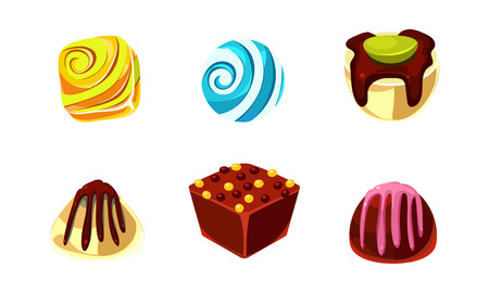 Set of chocolate and caramel candies. Delicious sweet of different shapes. Elements for mobile game or product packaging. Cartoon style illustrations. Flat vector icons isolated on white background.