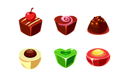 Collection of chocolate and caramel candies of various shapes. Sweets with different filling. Delicious truffle. Tasty confectionery products. Cartoon style icons. Isolated flat vector illustrations.