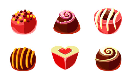 Set of delicious candies of different shapes. Tasty sweets with various filling. Graphic elements for product packaging or promo flyer of confectionery shop. Cartoon style icons. Flat vector design. Ilustração