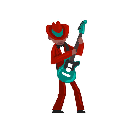 Male African American musician in red elegant suit playing guitar vector Illustration isolated on a white background.