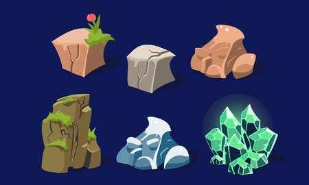 Stones and rocks set, user interface assets for mobile apps or video games details vector Illustration, web design