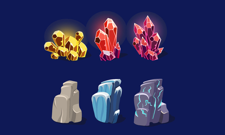Fantasy stones and sparkling crystals set, user interface assets for mobile apps or video games details vector Illustration, web design Çizim