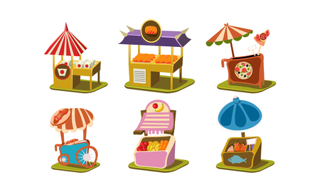 Collection of stalls with fast food pizza, sushi and hot dog , fresh fish and fruits. Small street business. Cartoon style icons. Colorful flat vector illustrations isolated on white background. Illustration