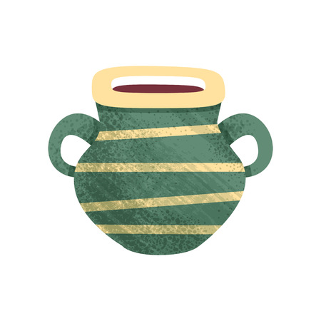 Illustration of small green ceramic pot with yellow stripes and two handles. Old vessel for liquids. Antique clay vase. Icon with texture. Colorful flat vector design isolated on white background. Illustration
