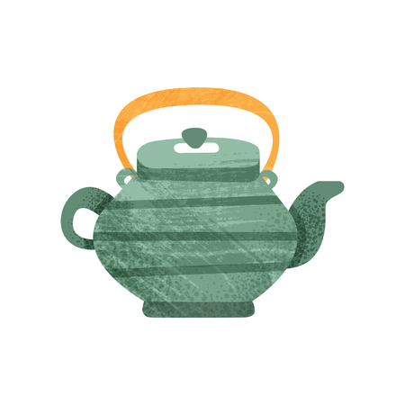 Green teakettle with stripes and orange handle. Ceramic utensil theme. Colorful graphic element for children book or promo poster. Flat vector illustration with texture isolated on white background.