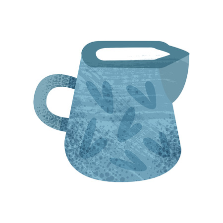 Icon of bright blue jug with texture. Ceramic utensil theme. Container for liquids. Graphic element for promo poster, banner or flyer. Colorful flat vector illustration isolated on white background.