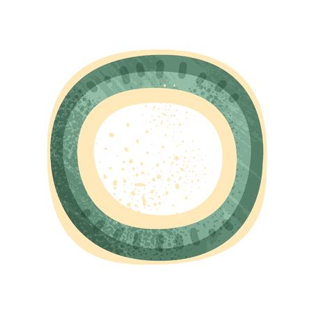 Platillo o plato redondo pequeño con pintura verde y amarilla. Utensilio de cerámica vintage. Elemento para cartel promocional del taller de cerámica. Icono de vector plano colorido con textura aislado sobre fondo blanco.