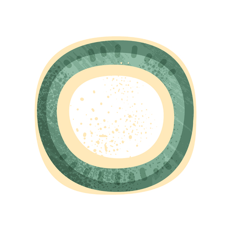 Small round plate or saucer with green and yellow painting. Vintage ceramic utensil. Element for promo poster of pottery workshop. Colorful flat vector icon with texture isolated on white background.