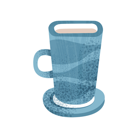 Big blue cup for tea and coffee. Ceramic mug with small saucer. Pottery vessel for hot drinks. Decorative element for advertising flyer. Flat vector icon with texture isolated on white background. Stok Fotoğraf - 109909470