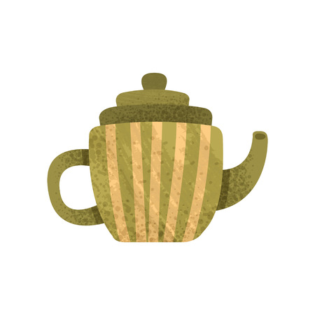 Icon of small green teapot with yellow stripes. Ceramic kettle with lid, long snout and handle. Earthenware theme. Colorful illustration with texture. Flat vector design isolated on white background.