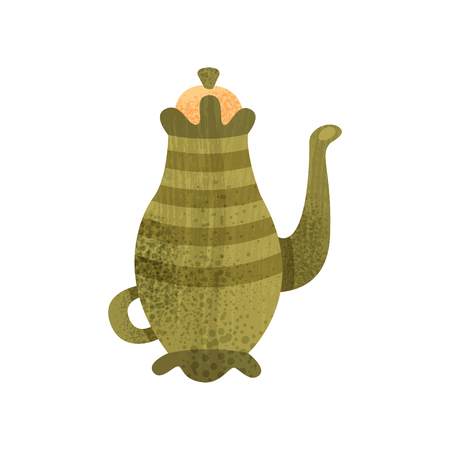 Vintage teapot with lid, long snout and small handle. Old ceramic utensil. Graphic element for poster or children book. Colorful flat vector illustration with texture isolated on white background.