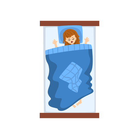 Girl sleeping in her bed, view from above vector Illustration isolated on a white background. Banque d'images - 109909474
