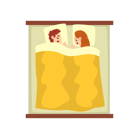Young couple sleeping on the bed, young man and woman, relaxing at night, view from above vector Illustration isolated on a white background. Banque d'images - 109909475
