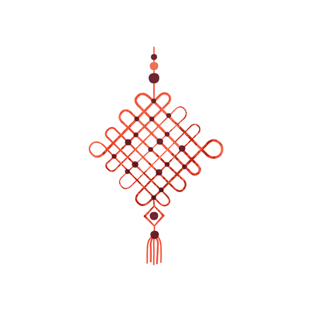 Macrame made of cotton cord and beads. Wall hanging decor. Decorative article for home. Art product. Hobby theme. Colorful icon with texture. Flat vector illustration isolated on white background.