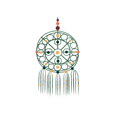 Macrame with colorful beads. Dream catcher made of cotton cord. Decor for home. Gorgeous handmade craft. Original wall decor element. Flat vector illustration with texture isolated on white background