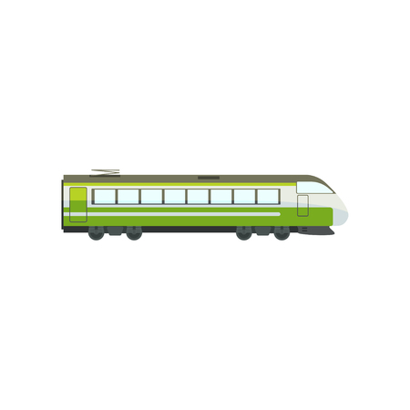 Green modern passenger train locomotive, subway transport vector Illustration isolated on a white background.  イラスト・ベクター素材