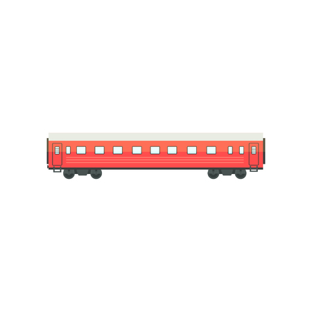 Red passenger train wagon, railway carriage vector Illustration isolated on a white background.