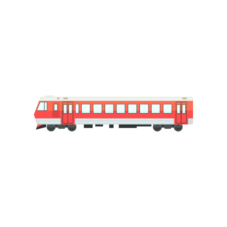Red passenger train locomotive, railway carriage vector Illustration isolated on a white background.