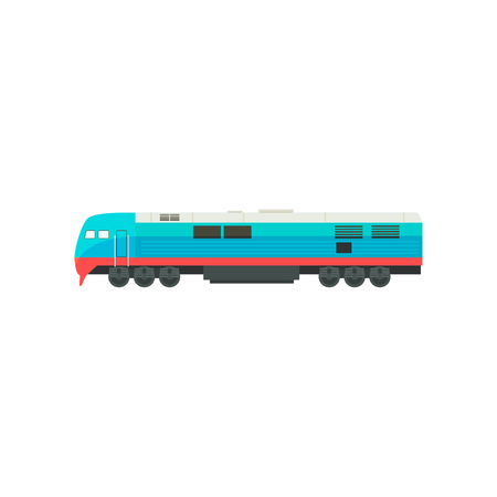 Modern blue railway locomotive vector Illustration isolated on a white background.