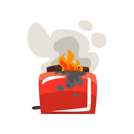Broken burning toaster, damaged home appliance cartoon vector Illustration isolated on a white background.