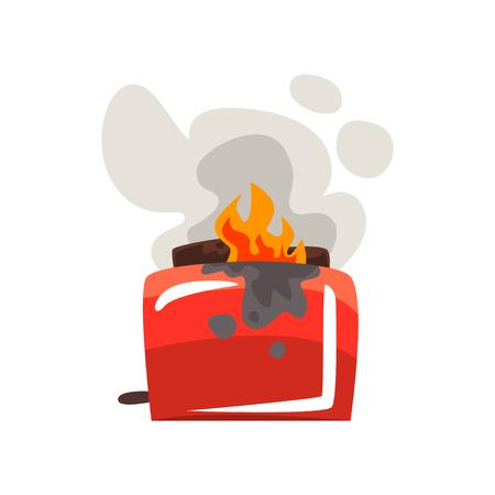 Gebroken brandende broodrooster, beschadigde huistoestel cartoon vector illustratie geïsoleerd op een witte achtergrond.