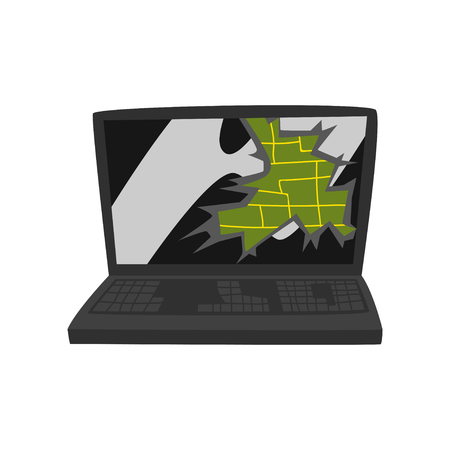 Broken laptop, damaged electronic device cartoon vector Illustration isolated on a white background. Иллюстрация