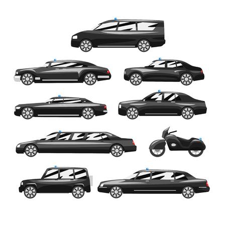 Colección de coches ejecutivos negros premium, vehículos de negocios de lujo con sirena intermitente azul, vector de vista lateral ilustración sobre un fondo blanco