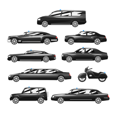 Collection of premium black executive cars, business luxury vehicles with blue flasher siren, side view vector Illustration on a white background