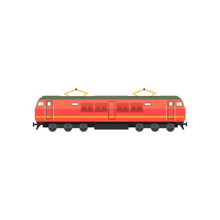 Modern red electric railway locomotive vector Illustration isolated on a white background.