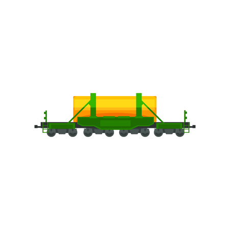 Railway tank for transportation of petroleum products, heavy railway transport vector Illustration isolated on a white background. Illustration