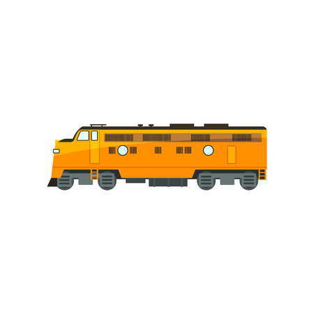 Yellow diesel railway great power locomotive vector Illustration isolated on a white background. Stock Illustratie