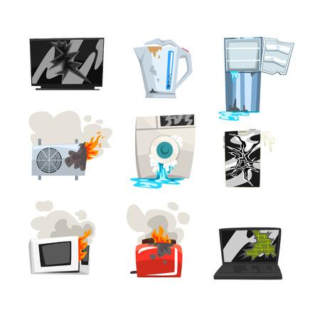 Beschadigde huishoudapparatuurset, kapotte tv, waterkoker, koelkast, airconditioner, wasmachine, magnetron, broodrooster, laptop, smartphone cartoon vector illustraties geïsoleerd op een witte achtergrond.