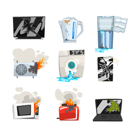 Conjunto de electrodomésticos dañados, TV rota, hervidor, refrigerador, aire acondicionado, lavadora, horno microondas, tostadora, computadora portátil, vector de dibujos animados de teléfono inteligente Ilustraciones aisladas sobre fondo blanco.