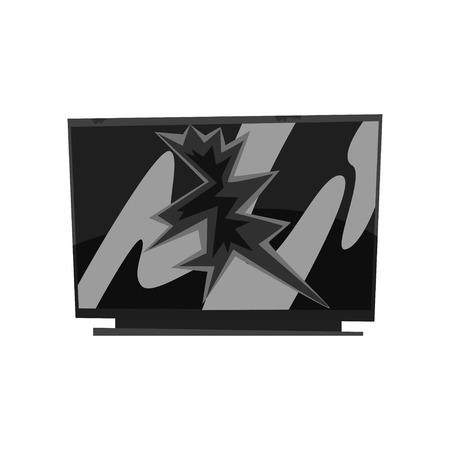 Broken TV, damaged electronic device cartoon vector Illustration isolated on a white background. Illustration