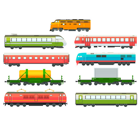 Modern railway locomotives, freight and passenger wagons set, railway carriage, subway transport, cargo vector Illustration isolated on a white background.