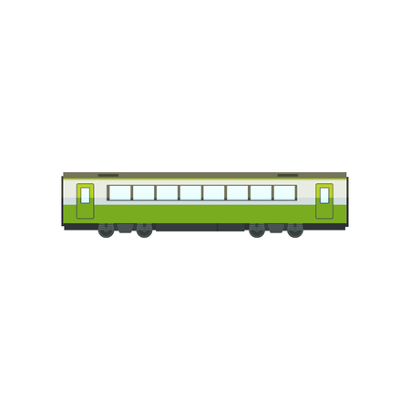 Green passenger train wagon, railway carriage vector Illustration isolated on a white background.