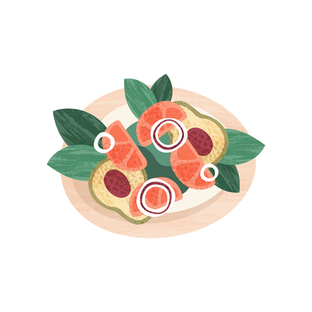 Delicious salad with fresh vegetables. Healthy nutrition theme. Graphic element for recipe book or restaurant menu. Colorful icon with texture. Flat vector illustration isolated on white background.