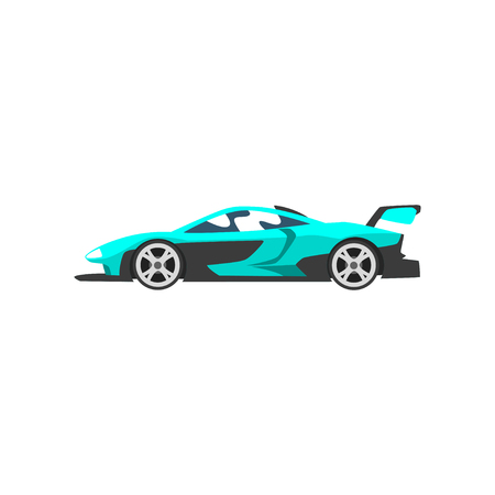 Turquoise sports racing car, supercar, side view vector Illustration isolated on a white background.