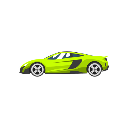 Lime sports racing car, supercar, side view vector Illustration isolated on a white background.