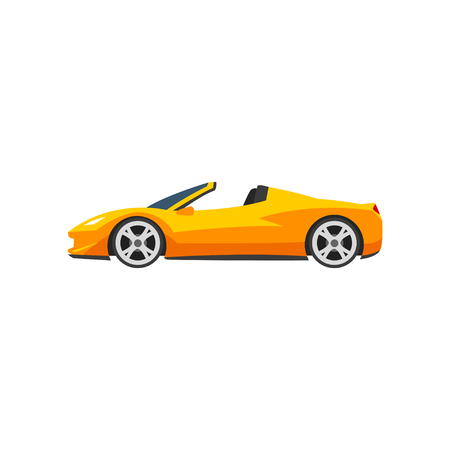 Orange sports racing car, supercar, side view vector Illustration isolated on a white background.